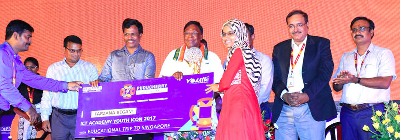 Farzana Begum of III Year CSE Winner of Puducherry Youth Icon